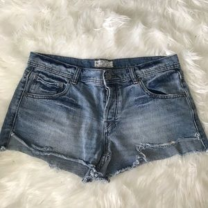 Free People hi rise button fly denim shorts